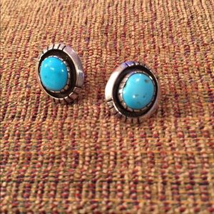 High End Turquoise Stone Sterling Silver Earrings